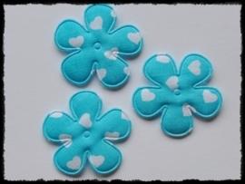 Katoenen bloemetjes, aquablauw met hartjes - 4 stuks - 35mm.