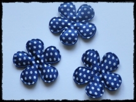 Satijnen bloemetje, donkerblauw polkadot - 4 stuks - 3,5 cm.