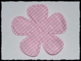Geruite bloem, roze - 2 stuks - 6.5 cm.