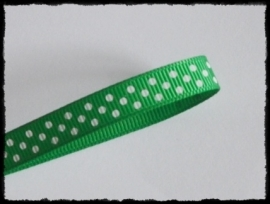 Grosgrain 10mm, groen polkadot - 5 meter