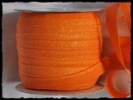 Elastisch band, oranje glitter - 16mm.