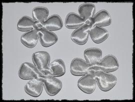 Satijnen bloemetjes, grijs - 47mm.