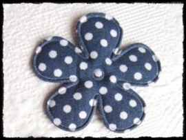 Katoenen bloemetje, donkerblauw polkadot - 4 stuks - 3.5 cm.