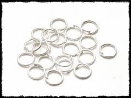 Ringetjes zilver, 5mm - 100 stuks