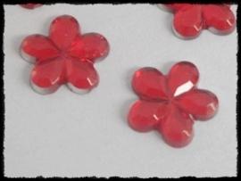 Flatback bloemetjes, rood - 10mm - 10 stuks
