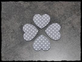Grijs polkadot hartje - 4 stuks - 3 x 3,5 cm.