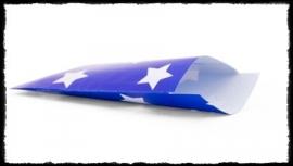 Papieren zakjes met ster, blauw - 7x13 cm. - 5 suks