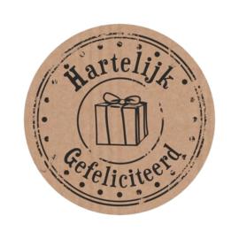 Craft etiketten 'Hartelijk gefeliciteerd' - 10 stuks