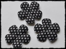 Katoenen bloemetjes, zwart met sterren - 4 stuks - 47mm