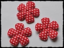 Katoenen bloemetjes, rood met sterren - 4 stuks - 47mm