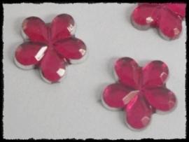 Flatback bloemetjes, fuchsia - 10mm - 10 stuks