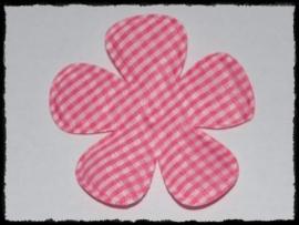 Geruite bloem, fuchsia - 2 stuks - 6.5 cm.