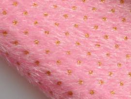 Fluffy lapje, roze met goud stipje - 20 x 22 cm.