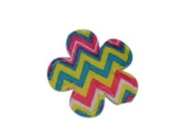 Katoenen bloemetjes met aztec pint, kleur - 4 stuks - 35mm.