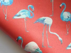 Lapje PU leer met flamingo, rood - 20 x 22 cm.