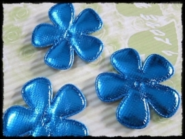 Satijnen bloemetjes, glimmend blauw - 4 stuks - 47mm.