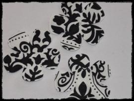 Satijnen bloemetjes met barokprint - 4 stuks - 47mm