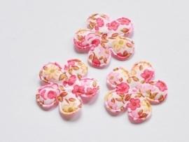 Katoenen bloemetjes, wit met fuchsia roosjes - 4 stuks - 25mm.