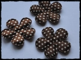Satijnen bloemetjes, bruin polkadot - 4 stuks - 35mm.