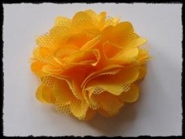 XL-bloem satijn met tule, geel - 5 cm.