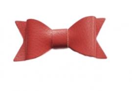 Leren strik, koraal - 7 cm.