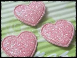Hartjes, roze glitter - 4 stuks - 20mm.