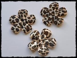 Satijnen bloemetjes met dierenprint - 4 stuks - 49mm