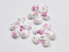 Katoenen bloemetjes, wit met lila roosjes - 4 stuks - 35mm.