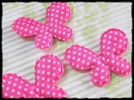 Satijnen vlinders, fuchsia polkadot - 4 stuks - 45mm