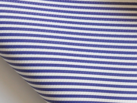 Lapje leer blauw / wit gestreept - 20 x 22 cm.