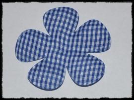 Geruite bloem, kobalt blauw - 2 stuks - 6.5 cm.