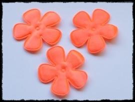 Satijnen bloemetjes, NEON-oranje - 4 stuks - 47mm