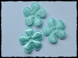 Satijnen bloemetjes, blue mint - 35mm.