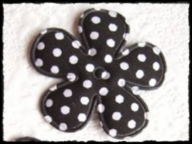 Katoenen bloemetje, zwart polkadot - 4 stuks - 3.5 cm.