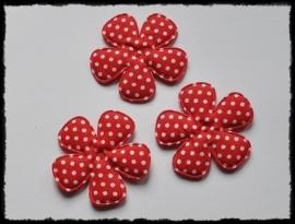 Katoenen polkadot bloem, rood - 4 stuks - 47mm.