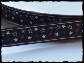 Grosgrain met sterren, donkerblauw - 5 meter - 16mm.