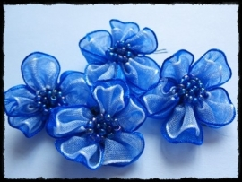 Organza bloemetje kobalt blauw - 3 stuks - 3 cm.