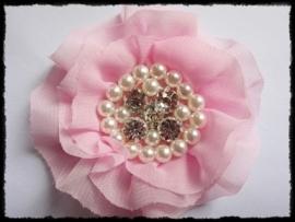 XL-bloem - luxe chiffon met parels en strassteentjes, roze - 9 cm.