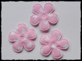 Katoenen bloemetjes, roze met hartjes - 4 stuks - 35mm.