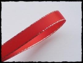 Satijnlint met zilver randje, rood - 9mm