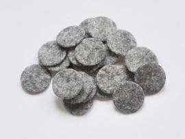 Rondjes van vilt, grijs - 25mm.