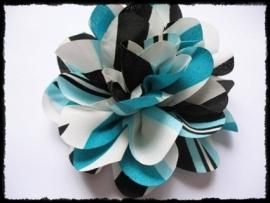 XXL-bloem - zwart, turqoise, wit gestreept - 10 cm.