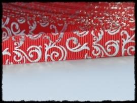 Grosgrain rood / zilver barok, 5m.