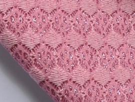 Lapje leer, glitter met kant, roze - 20 x 22 cm.