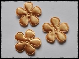 Satijnen bloemetjes, goudgeel / oker - 4 stuks - 47mm