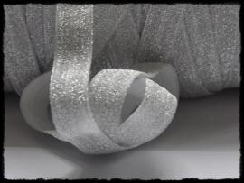 Elastisch band sparkling, zilvergrijs - 16mm.