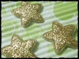 Sterren, goud glitter - 4 stuks - 25mm.