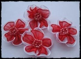 Organza bloemetje rood - 3 stuks - 3 cm.
