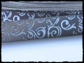 Grosgrain grijs / zilver barok, 5m.