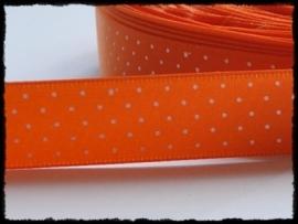 Satijn lint, oranje met witte stipje - 17mm